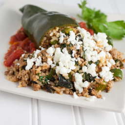 Turkey and Rice Stuffed Poblano Peppers