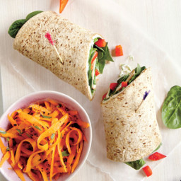 Turkey and Swiss Wrap with Carrot Salad