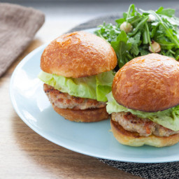 Turkey Burger Sliderswith Brioche Buns and Toasted Hazelnut and Arugula Sal