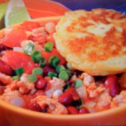 Turkey, Chorizo, and Chipotle Stew with Corn Cakes