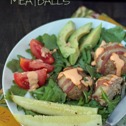 Turkey Club Meatballs w/ Roasted Red Pepper Aioli (Low Carb and Gluten Free