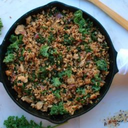 Turkey, Kale, and Wild Rice Skillet