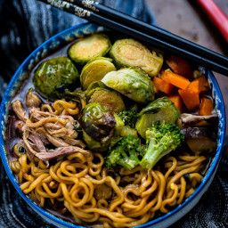 Turkey Ramen Noodle Soup with Brussels Sprouts