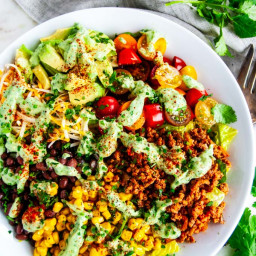 Turkey Taco Salad with Cilantro Avocado Dressing