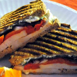 Turkey and Roasted Red Pepper Panini with Feta Sauce