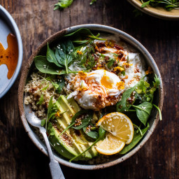 Turkish Poached Egg and Quinoa Breakfast Bowl.