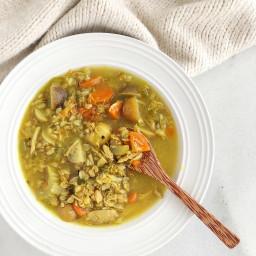 Turmeric Chicken, Barley, and Veggie Soup