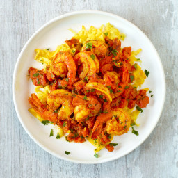 Turmeric-Spiced Shrimp Over Yellow Squash