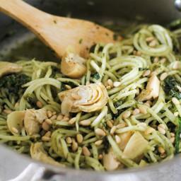 Turnip Pesto Pasta with Artichoke Hearts and Kale
