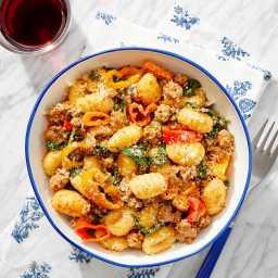 Tuscan Pork & Gnocchi with Romesco Sauce & Spinach