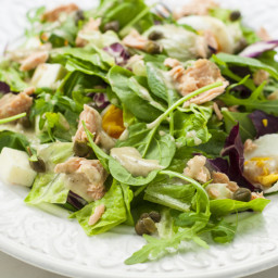 Tuscan Salad with Mixed Greens and Lemon Caper Vinaigrette Recipe
