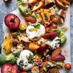 Tuscan Summer Stone Fruit, Tomato, and Burrata Panzanella Salad