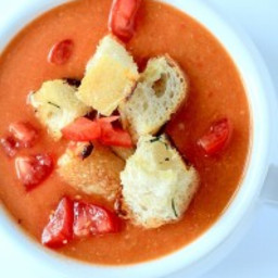 Tuscan Tomato Soup with Rosemary Garlic Croutons
