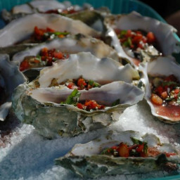 Tuscan Wood-Grilled Oysters with Crispy Pancetta-Tomato-Basil Mignonette
