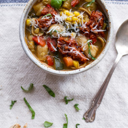 Tuscan Summer Minestrone with Sun-Dried Tomato Pesto.