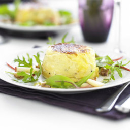 Twice-baked goat's cheese soufflés with apple and walnut salad