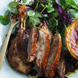 Twice-roasted Peking duck with mango