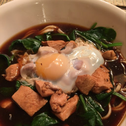 Udon Noodle Soup with Chicken & Spinach