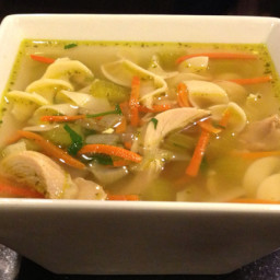 Uncle Butterball's Chicken Noodle Soup with drumsticks