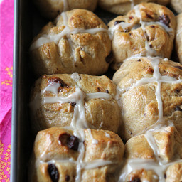 Unconventional Hot Cross Buns Recipe with Dark Chocolate and Dried Cherries