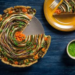 Tarta cu branza si legume in spirala