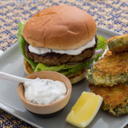 Vadouvan-Spiced Lamb Burgerswith Crispy Curried Zucchini Rounds