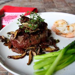 Valentine Surf and Turf with Wild Mushrooms and Asparagus