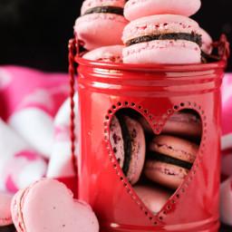 Valentine's Chocolate Strawberry Macarons