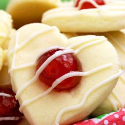 Valentine's Maraschino Cherry Shortbread Cookies