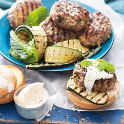 Valli Little's lamb, zucchini and haloumi burgers with sesame salt