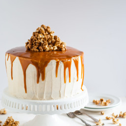 Vanilla Bean Cake with Bourbon Soaked Peach Compote and Spicy Caramel Popco