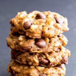 Vegan Almond Butter Chocolate Chip Walnut Oat Cookies (Gluten-Free, Oat Flo