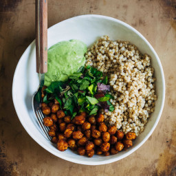 Vegan Buddha Bowl w/ Sorghum + Curry Chickpeas + Avocado Vinaigrette