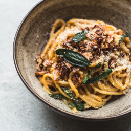 Vegan Butternut Squash Carbonara with Coconut Bacon + Crispy Sage