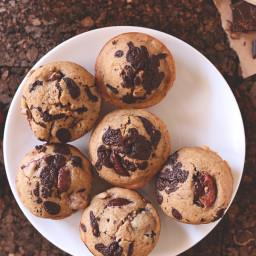 Vegan Cherry Dark Chocolate Chip Muffins