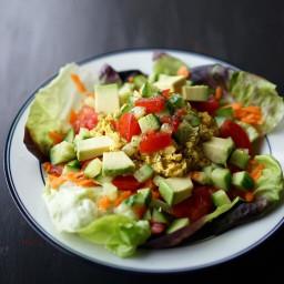 Vegan Chickpea Salad over Greens