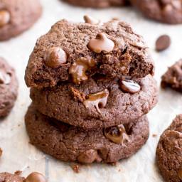 Vegan Chocolate Brownie Cookies (Gluten Free, Oat Flour, Vegan, Dairy-Free,
