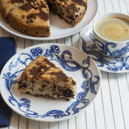 Vegan Chocolate Chip Coffee Cake with Cherries and Bacon