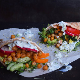 Vegan Dill Pickle Roasted Chickpea Gyros
