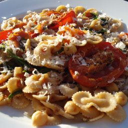 Vegan Fire Roasted Tomato Pasta with Chickpeas and Arugula