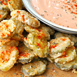 Vegan Fried Pickles with Mississippi Comeback Sauce