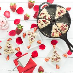 Vegan/Gluten Free Strawberries and Cream Scones with Vanilla Glaze