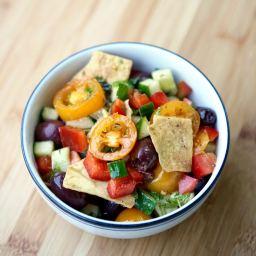 Vegan Greek Salad with Pita Chip Croutons
