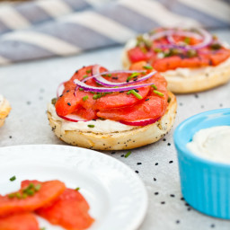 Vegan NY Style Bagels with Tomato Lox and Cashew Cream Cheese