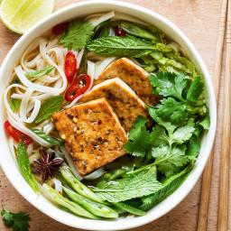 Vegan pho with spicy tofu