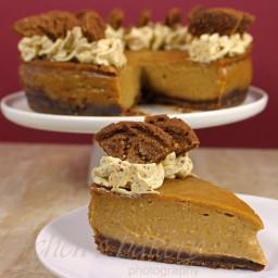 Vegan Pumpkin Pie Cheesecake with gingersnap crust