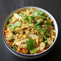 Vegan Quinoa Fried Rice with Freezer Veggies