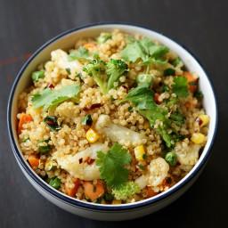 Vegan Quinoa Fried Rice with Freezer Veggies