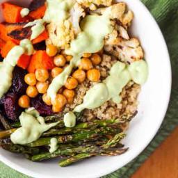 Vegan Quinoa Power Bowls with Roasted Veggies and Avocado Sauce {Gluten-Fre