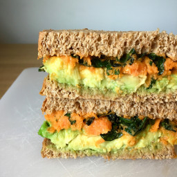 Vegan Sandwich with Avocado, Roasted Kale & Sweet Potato